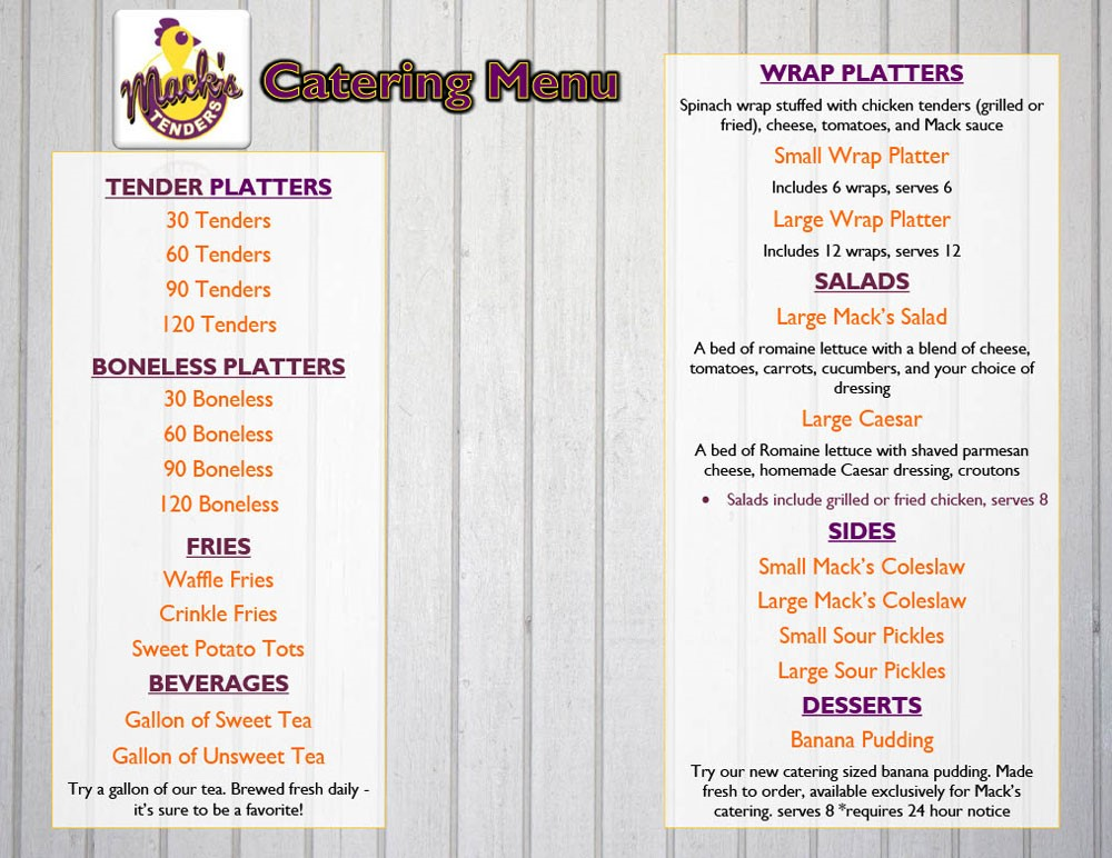 FOE Mack's Tenders Catering Menu 10-25-19