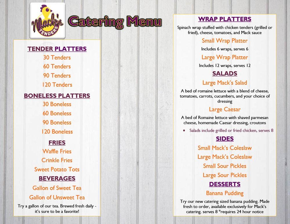 FOE Mack's Tenders Catering Menu 10-25-19