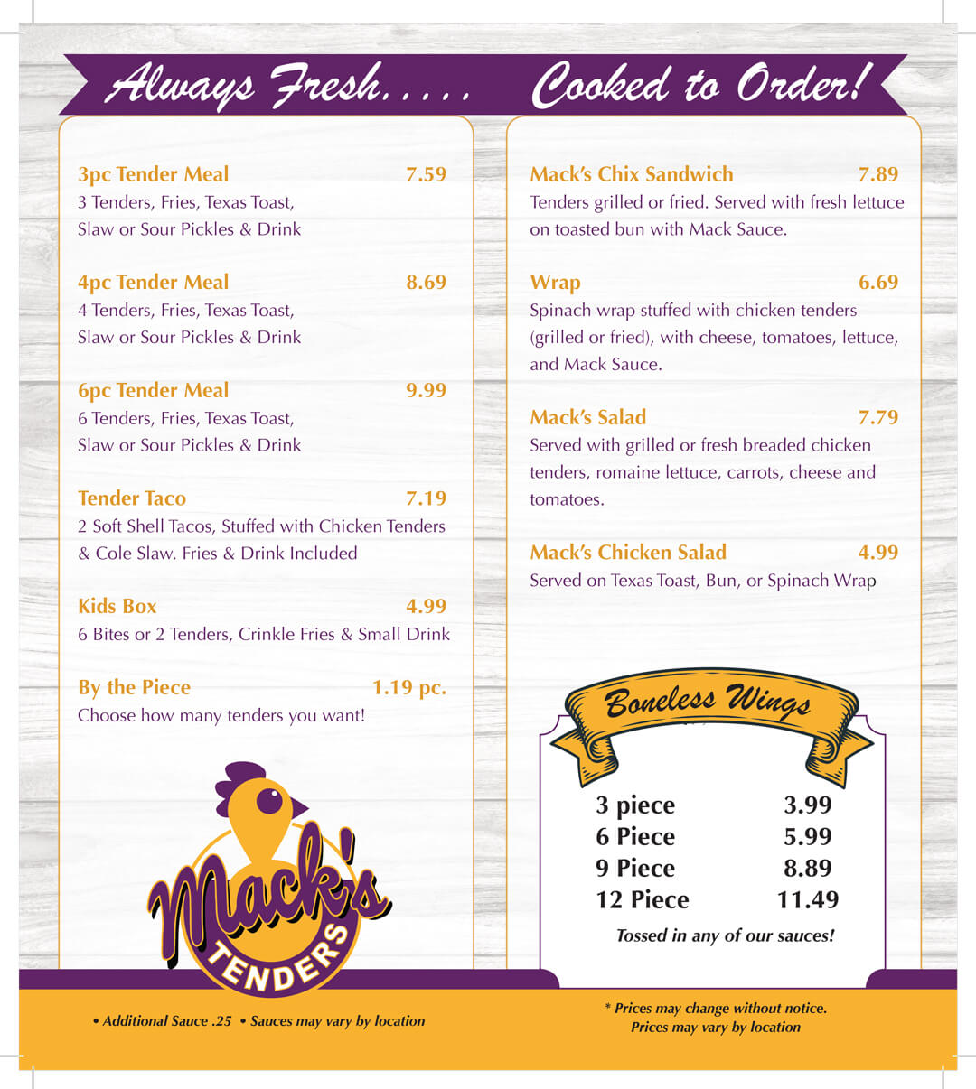Macks Menu